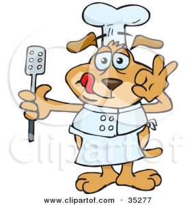 hanging-cooking-utensils-clipart-35277-Clipart-Illustration-Of-A-Kitchen-Chef-Dog-Holding-A-Spatula-And-Gesturing-After-Tasting-His-Food